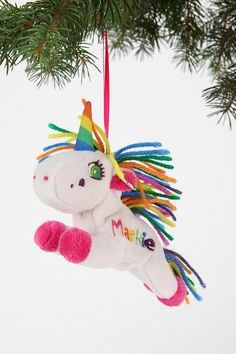 Plush ornament from Lisa Frank to bring a lil' nostalgia to your tree (or anywhere you choose to hang it). #urbanoutfitters
