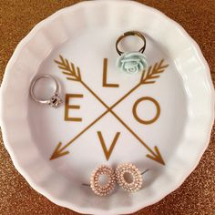 Love and Arrows Jewelry Dish | Bridesmaid Gift | Wedding Gift | Gold | White | Art | Valentine | Wife | Engagement | Bridal | Plate Bowl