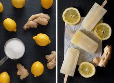 Läskande glass med citron och ingefära