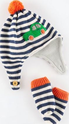83023a5fed1 Mini Boden Knitted Hat and Mittens Set Navy Car Mini Boden