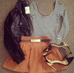 love the brown & black combo skirt would need to be longer and I would wear flats or ankle boots.