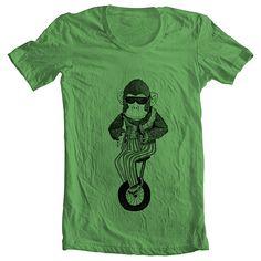 Unisex T Shirt Monkey on a Unicycle Bicycle Bike Animal Print Mens Womens American Apparel Tshirt XS, S, M, L, XL 9 COLORS