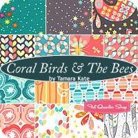 Coral Birds & The Bees Fat Quarter Bundle Tamara Kate for Michael Miller Fabrics