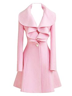 Buy Pink High Waist Woolen Coat With Ruffled Collar from abaday.com, FREE shipping Worldwide - Fashion Clothing, Latest Street Fashion At Abaday.com
