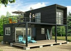 Building A Container Home, Container Buildings, Container Homes, Tiny House Cabin, Tiny House Living, Prefab Homes, Modular Homes, Small House Design, Modern House Design