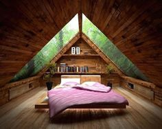 Image 34 of 40 from gallery of Cozy Small Attic Bedroom Design and Decorating Ideas. Amusing small attic bed room idea with ceiling design idea plus glass roof also pink bed for wooden floor Attic Bedroom Designs, Attic Bedroom Small, Attic Bedrooms, Bedroom Loft, Bedroom Ideas, Attic Closet, Bedroom Decor, Attic Bathroom, Attic Office