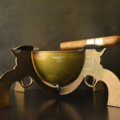 An ashtray that'll make any punk feel lucky… This ashtray has got 4 six shooters for you and your company to rest your cigar on. Made of carbon steel to ensure longevity, if this won't make your day, then no ashtray will.
