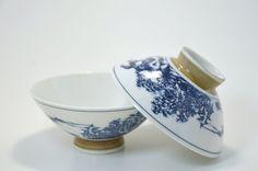 Blue & White Japanese Transferware Porcelain Rice Bowls