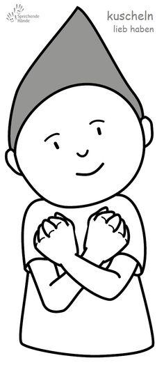 kuscheln / lieb haben Babyzeichen Babyzeichensprache Gebärdensprache Babygebärden Kindergebärden GuK