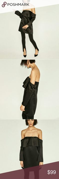 ZARA OFF THE SHOULDER DRESS TOP Black short glossy dress with open shoulders and front frill.  Zip fastening. Zara Dresses Strapless