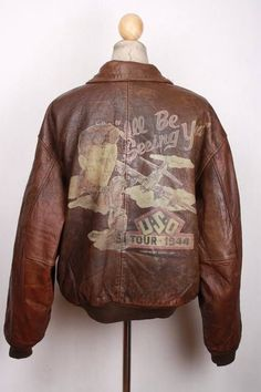 Vtg AVIREX A-2 USAAF  I ll Be Seeing You  Ltd Edition Leather Flight Jacket XL