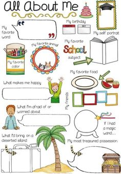 "Back to school All About Me Posters Bundle ☆☆☆☆ The Perfect Ice-Breaker for EFL-ESL Students!☆☆☆☆ This is a set of 72 versions of differentiated All About Me poster that enables you to do a complete lesson on ""getting to know"" your students. All About Me Activities, First Day Of School Activities, English Activities, Activities For Kids, All About Me Preschool Theme, Emotions Activities, All About Me Poster, All About Me Book, All About Me Worksheet"