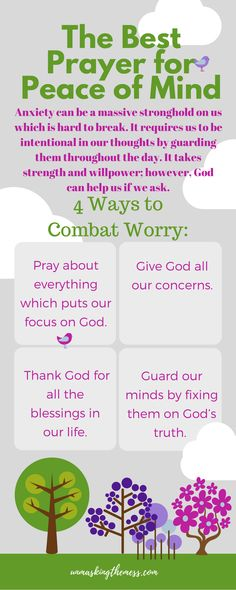 Prayer for Peace of Mind. We encounter many situations in life that cause us to worry. A prayer for peace of mind can help us focus on our Savior instead of our situation. Prayer For Work, Prayer For Peace, Prayer Circle, Christian Marriage, Christian Faith, Christian Women, Christian Living, Christian Devotions, Good Prayers