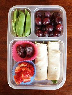 Paleo Rolls (Turkey, Bacon, Avocado, Tomato, Spinach) OR Vegan Fagitas; Strawberries; Dates; Grapes; Sugar Snap Peas