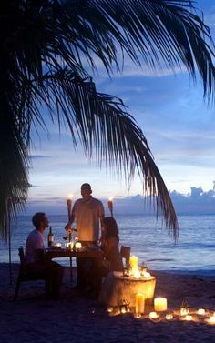 Candlelit Dinner for Two on the Beach.. good idea for Florida!