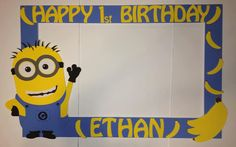 photo frame party prop minion to take by titaspartycreations Picture Frames For Parties, Party Photo Frame, Photo Booth Frame, Minion Theme, Minion Birthday, Despicable Me Party, Minion Party, 3rd Birthday Parties, Birthday Fun