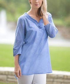 Denim Blue Chambray Three-Quarter Sleeve Tunic