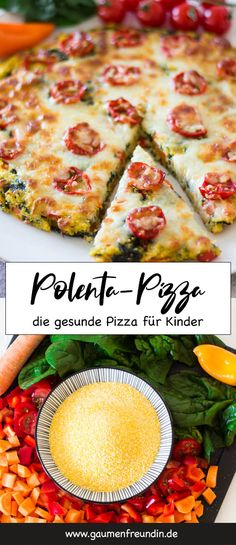 Polenta pizza with tomatoes and spinach - a . - Healthy and fast polenta pizza for children. The pizza made from corn grits is packed with healthy - Quick Recipes, Baby Food Recipes, Mexican Food Recipes, Vegetarian Recipes, Dinner Recipes, Healthy Recipes, Pizza Recipes, Shrimp Recipes, Polenta Pizza