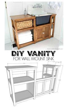 diy vanity for wall mount sink free plans