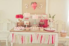 Adorable little girls strawberry party