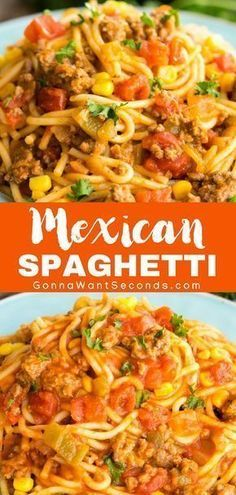 Easy Mexican Spaghetti - One Pot wonder! Filled with beef, pasta, tomatoes, corn and taco seasoning, this is a meal the whole family will love! Its also finished with a cheesy topping. Mexican Spaghetti is perfect for a busy weeknight dinner. New Recipes, Cooking Recipes, Favorite Recipes, Easy Beef Recipes, Recipies, French Recipes, Recipes With Rotel, Ground Chicken Recipes Easy, Spicy Food Recipes