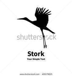 Vector illustration of a flying stork icon. Isolated silhouette on a white background. - stock vector