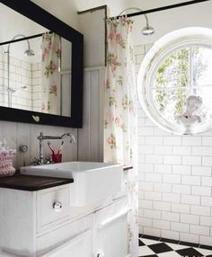 love the floral shower curtain with black and white