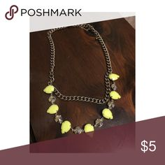 Silver & Lime Gem Necklace Silver adjustable chain necklace with lime green plastic gems. Worn once! H&M Jewelry Necklaces