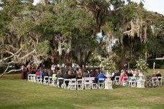 Jekyll Island Club Hotel Wedding | Ceremony under oaks, riverside lawn