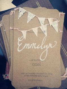 Rustic children's birthday invitation with bunting, adorable