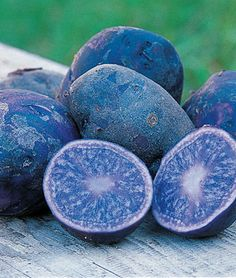 Potato, All Blue  Skin is purple and the flesh is blue	  A wonderfully flavorful potato with meaty flesh that's great mashed. Skin is rich purple. Inside it's a blue that turns pale when cooked. Big yields of medium sized spuds.