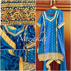 This beauty just doesnt need a filter  Gotta patti love  This piece is done with gotta patti, resham and zardozi detailing! What do you think of this one? Now this piece can be done in any colour or we can take inspiration from this and create something new for you! DM or whatsapp for details Shipping worldwide For more designs and updates follow us on facebook at: www.facebook.com/nazakatjal #blue #firozi #turquoise #silk #pearls  #royal #zardozi #bridetobe #punjabibride #sikhbride #gott...