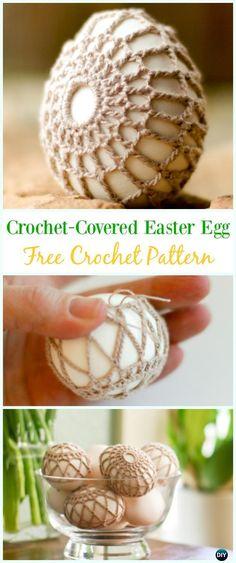 Crochet-Covered Easter Egg Free Pattern - #Crochet, #Easter; Egg Cozy&Holder Free Patterns