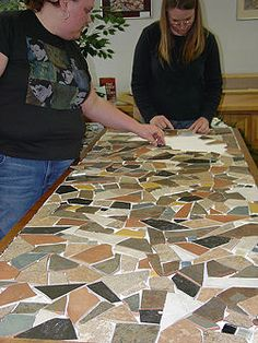 This is my next big project for our bedroom nightstands where the paint is flaking off... with prettier tiles though...