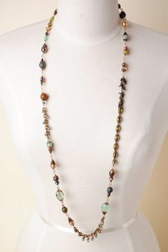 Crisp013N Unique handcrafted designer gemstone antique brass long layer collage necklace for women