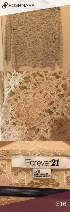 NWOT gorgeous lace top Sheer top perfect with bandeau under. Beautiful. Never been worn. Size large. Forever 21 Tops Blouses