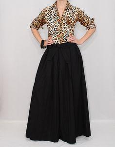 Linen pants Black palazzo pants Wide leg pant skirt by dresslike