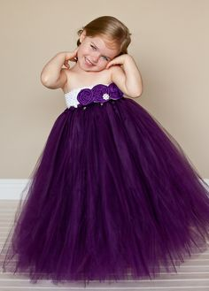 Flower Girl Tutu Dress in Plum Couture...I love this idea too! Yay for a purple Christmas!