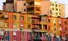 Tirana, another gorgeously multicolored building. Photo: David Dufresne/Flickr