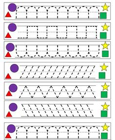 Little Piles Everywhere: Writing Practice – Shapes - Jardim da infância Preschool Writing, Preschool Printables, Preschool Lessons, Preschool Worksheets, Preschool Activities, Free Printables, Handwriting Activities, Handwriting Worksheets, Tracing Worksheets