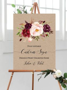 Beautiful Rustic Kraft Boho Floral Wedding Sign! Love this burgundy and green flowers! Perfect for fall wedding inspirations. #floralsign #weddingsign  Edit this printable template instantly // Truly DIY: Edit all the texts, background, color & font style! // Including trending wood, marble, chalkboard backgrounds & designer fonts. // FREE DEMO, CLICK & TRY IT! Floral Wedding, Fall Wedding, Diy Wedding, Rustic Wedding, Wedding Ideas, Reception Signs, Wedding Welcome, Wedding Signs, Designer Fonts