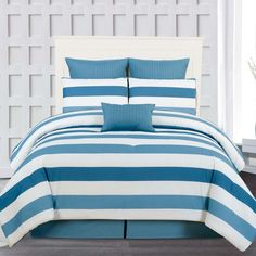 June Stripes 7-Piece Comforter Set Blue! Perfect for your nautical home <3