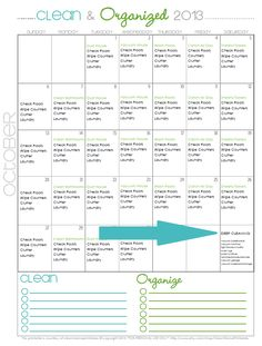 Get organized this month with the Clean + Organized 2013 - FREE Cleaning Schedule for October with Deep Cleaning Suggestions via Clean Mama