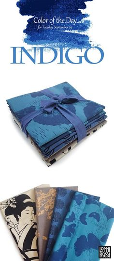 """Color of the Day: Indigo  Featured is Lonni Rossi's Blue Geisha Bundle from her collection """"Geishas & Ginkgos"""" printed by Andover Fabrics"""