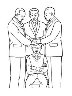 "An illustration of the fifth article of faith—""Hands"" (a young man being ordained to the priesthood)."