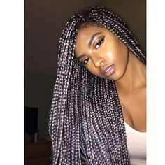 Silver tones. | 17 Stunning Women Who Proved Box Braids Were THE Hair Style Of 2015