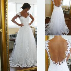 2015 Vintage Sheer A Line Wedding Dresses Cheap Bridal Gown Dresses For Garden Beach Wedding Bride High Quality Lace V Neck Plus Size Custom Cheap Gowns Cheap Lace Wedding Dresses From Hotdresses, $130.66| Dhgate.Com