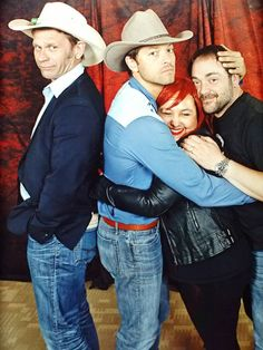 Supernatural photo ops: I asked Misha Collins, Mark Pellegrino, and Mark Sheppard at #DallasCon for a sandwich hug. I'm pretty pleased with the outcome :D -Brittany