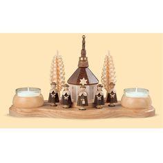 Kerzenhalter Seiffener Kirche    Natur, Teelichte       26x11x15cm