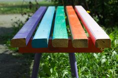 #bench #blue #close up #color #colored #creative #end #five #green #line #orange #painted #pink #plank #rainbow #settee #side #sit #view #violet #wood
